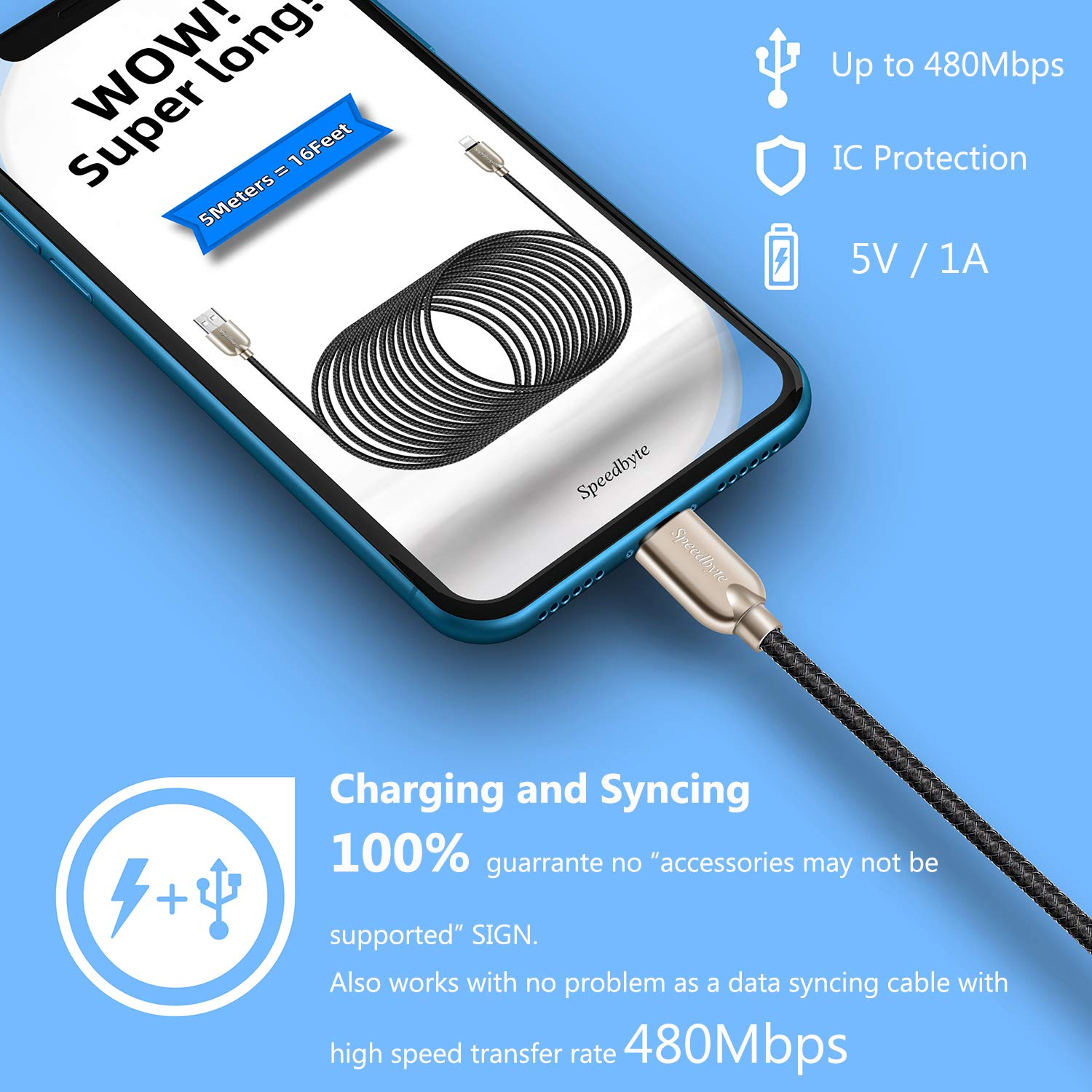 16FT Charger Cable,5M Nylon Fishnet Braided Super-long Charge Cord USB Cable with Zinc Alloy Connector Compatible with Phone 11/11Pro/11ProMax/Xs/Max/XR/X/8/8Plus/7/7Plus/6S/6S Plus/5/5S/5C/SE/Pad/Pod