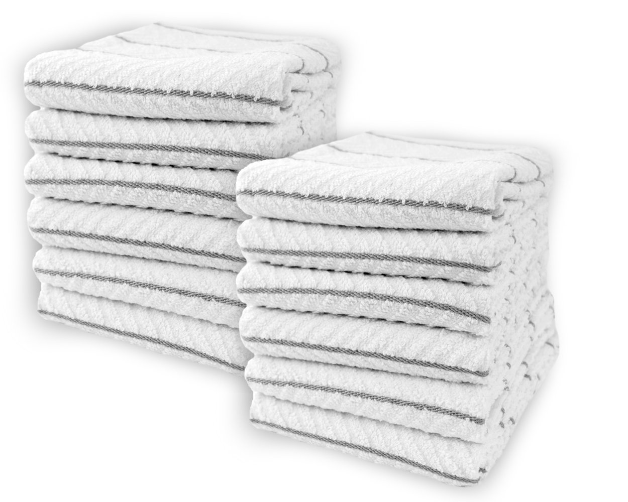 Cotton & Calm Exquisitely Absorbent Kitchen Towels Dish Cloths (12 Pack, 16'' x 26''), White with Grey Stripes 100% Cotton Dish Towels, Bar Towels- Crafted for Home, Restaurant, Bar Use
