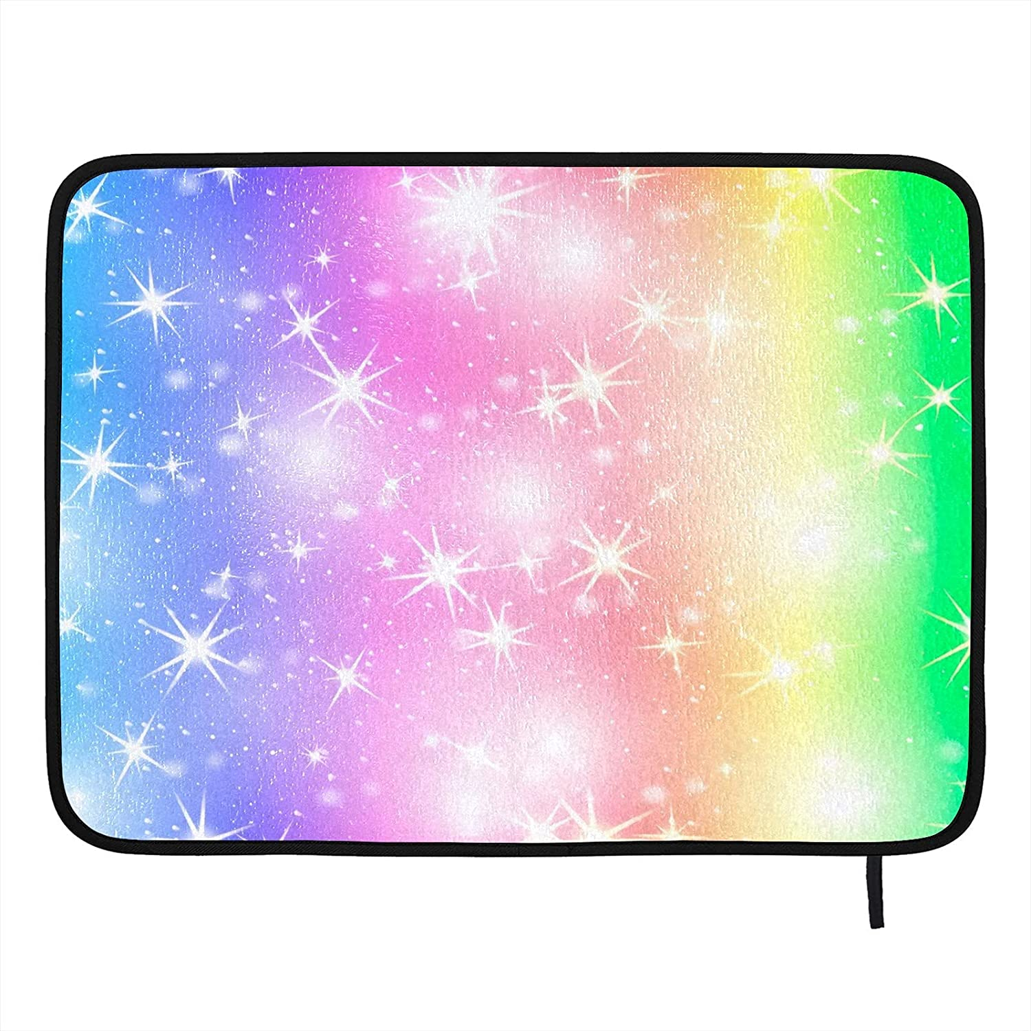 Absorbent Dish Drying Mat Glitter Star Rainbow Kitchen Counter Mat Protector Heat Resistant Drying Pad Protector Suitable for Kitchen Sink Dining Table decor 24x18 inch