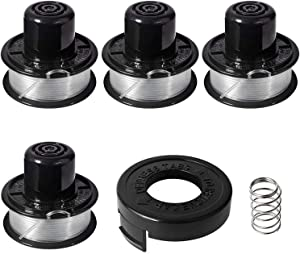 "Thten Weed Eater Spools Compatible with Black and Decker RS-136 ST4500 ST1000 ST4000 GE600 CST800 ST6800 String Trimmer Replacement Spool Line 20ft 0.065"" Edger Refills Parts Auto-Feed 4 String+1 Cap"