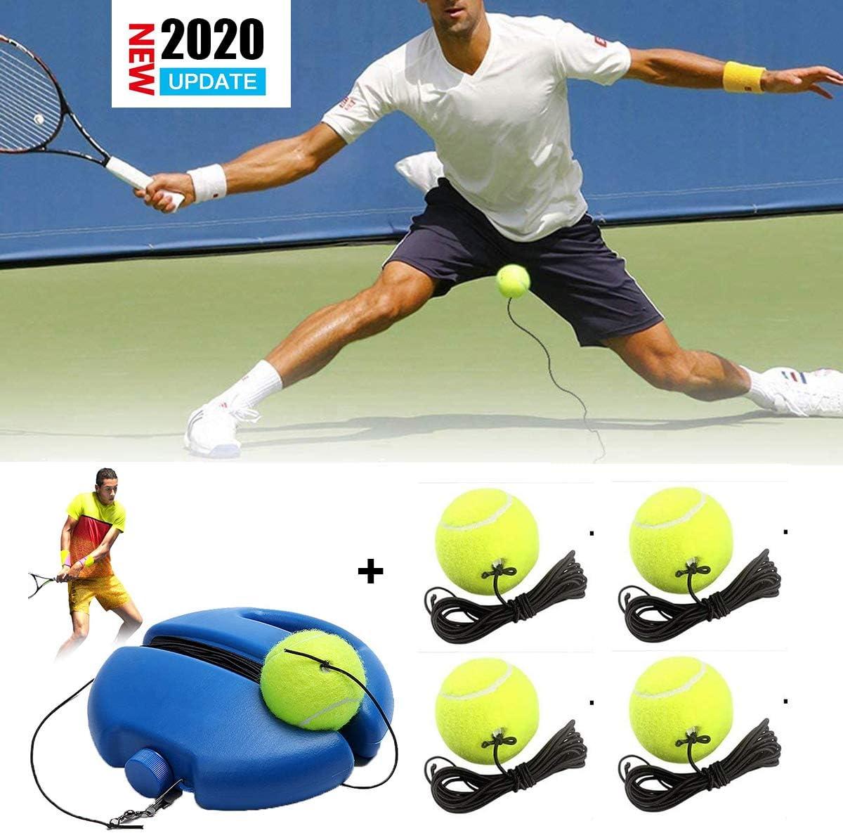Qinsir Entrenador De Tenis Portátil Equipo Herramienta Práctica Autoaprendizaje Pelota En Solitario Relleno Y Taladro Base con Una Cuerda Jugador Rebote Autoestudio Principiante (Azul)