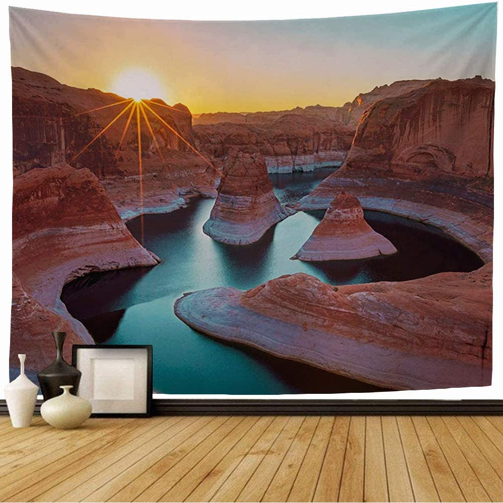 Amazon Com Wall Tapestry Blue Colorful Dawn Rays Lake Powell Utah Nature Wonder Amazing Parks Orange Awesome Bend Beautiful Tapestry Wall Hanging Bedding Tapestry For Bedroom 60x60 Inch Home Kitchen