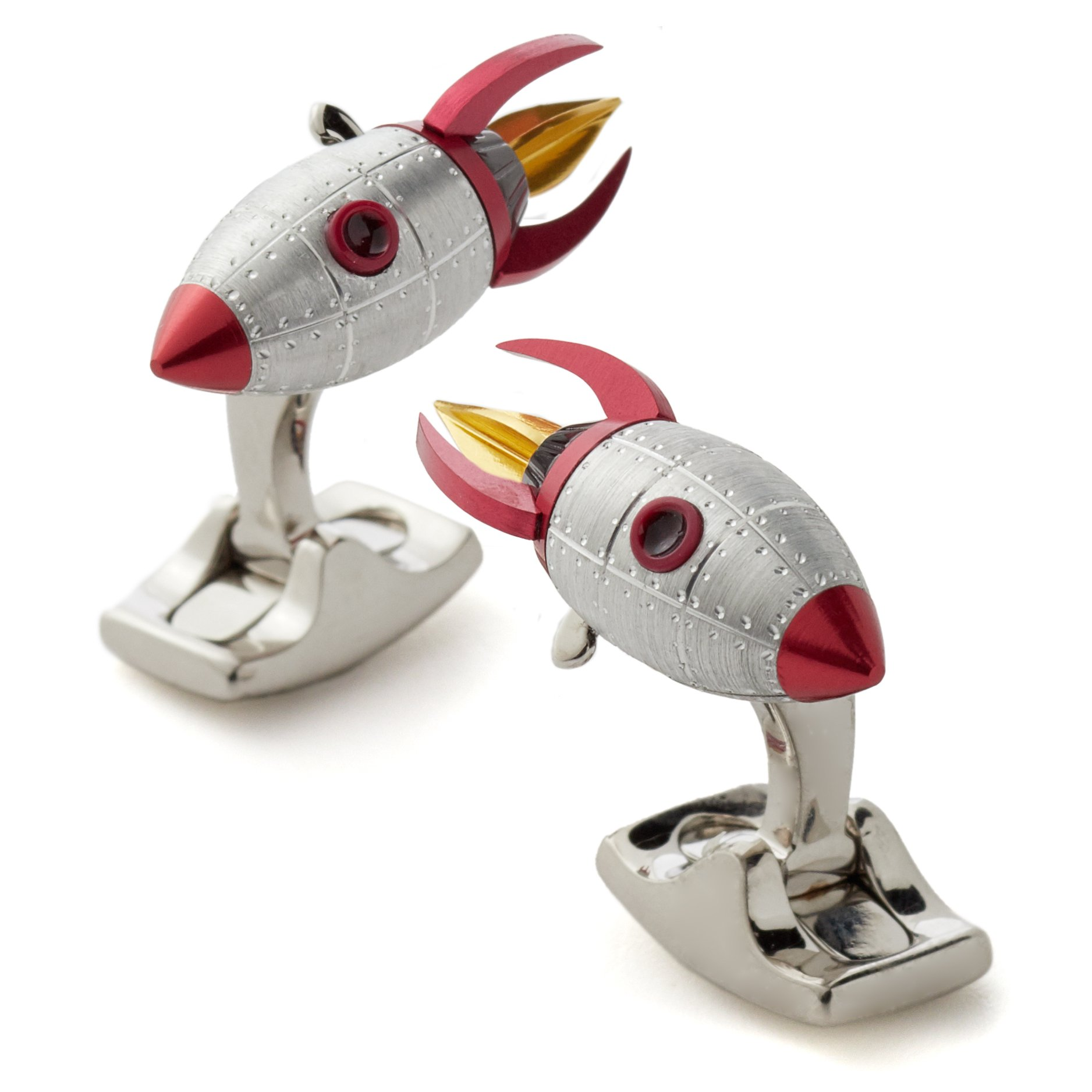 Deakin and Francis Rocket Cufflinks, Sterling Silver and Red