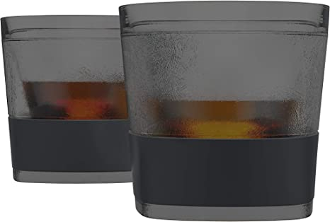 Amazon Com Host Freeze Cooling Cups For Whiskey Bourbon And Scotch Freezer Gel Chiller Double Wall Tumblers Set Of 2 9 Oz Smoke Old Fashioned Glasses