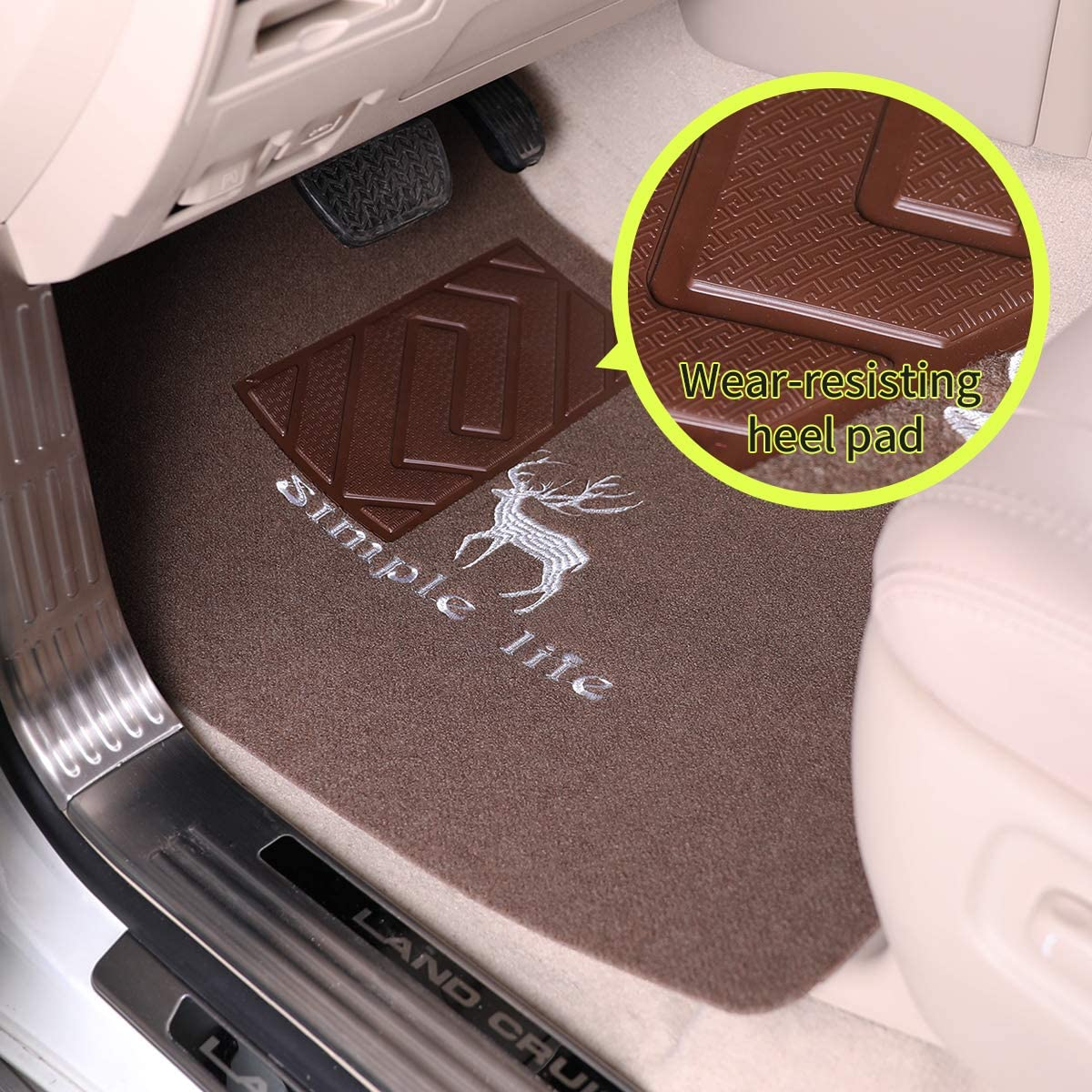 Gray All-Weather Protection TISHIJIE Full Set Floor Mats for Cars SUV Van and Truck Universal Full Set Trim to Fit