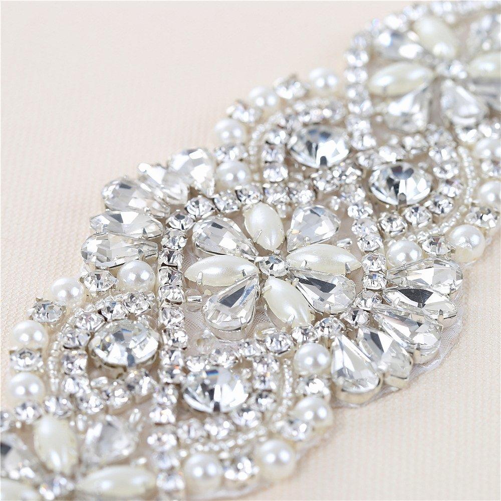 Cristales y Rhinestone De hierro-en Applique con las perlas para la boda  Correas nupciales Headpieces Ligas  (oro ... a1816f2dabfc