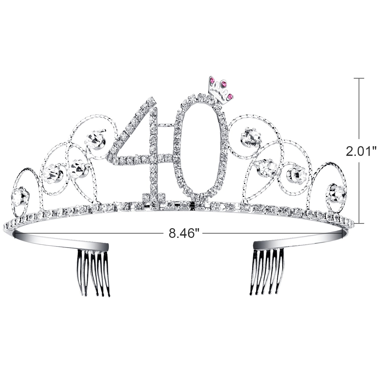 BABEYOND Crystal Tiara Birthday Crown Princess Crown Hair Accessories Silver Diamante Happy 40th Birthday (40 Birth) by BABEYOND (Image #4)