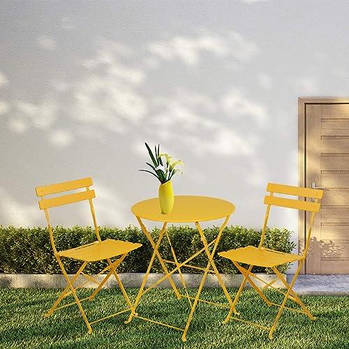 INOVIX Grand Patio Bistro Set Outdoor Metal Patio Bistro Set Foldable Patio Table and Chairs 6 Colors Yellow