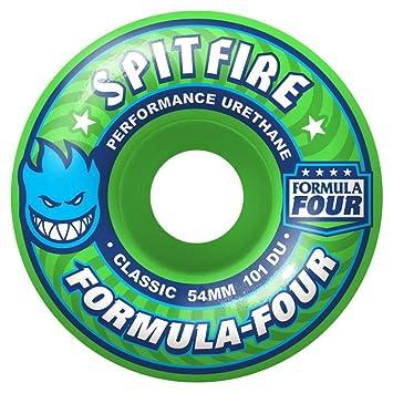 Spitfire fórmula cuatro clásicos banda verde ruedas de monopatín, 101DU verde 54 MM: Amazon.es: Deportes y aire libre