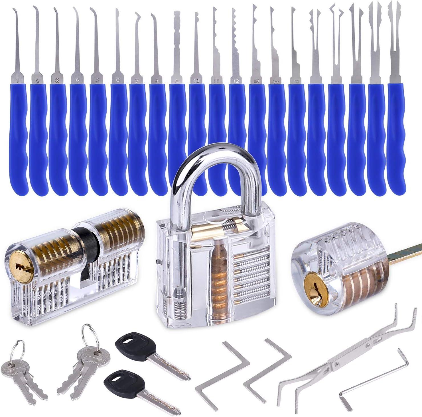 INNOCHEER Lockpicking Set 24-Teiliges Lock Pick Set mit 3 Transparentem Trainingsschl/össern und Ledertasche f/ür Anf/änger und Profis Schlosser Dietrich Set
