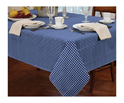 """GINGHAM CHECK BLUE WHITE ROUND 60"""" 152CM TABLE CLOTH"""