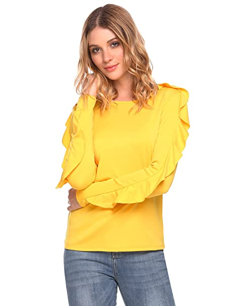 f7a7f1be66 Amazon is offering this Women's Ruffle Lotus Leaf Sleeve Shirt Casual Loose  Fit Pullover Blouse T-Shirt for $24.98 – $14.99 (60%) with promo code  QJ3EI6CZ ...