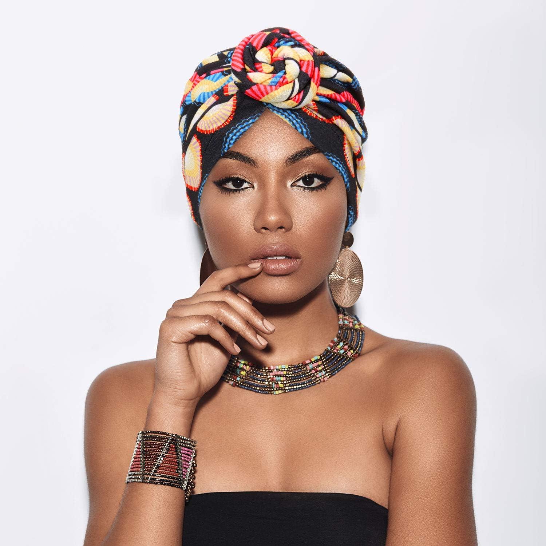 Beanie Kopftuch Blumenknoten vorgebunden Mudder Afrikanischer Turban f/ür Damen