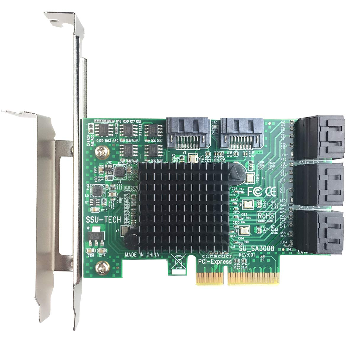 GLOTRENDS PCIe 2.0 X2 to SATA III 8 Ports Adapter Card (ASM Chipset) for IPFS Mining and Adding SATA 3.0 Devices (SA3008) by GLOTRENDS