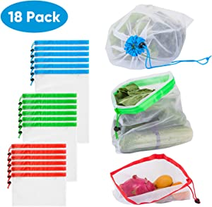 "Brajttt 18 Pack Reusable Produce Bags, Mesh Drawstring Bag Lightweight Washable & See Through &Durable, Small Nylon Mesh Laundry Bag for Storage, Travel and Sports (Colorful, 12""x13"")"