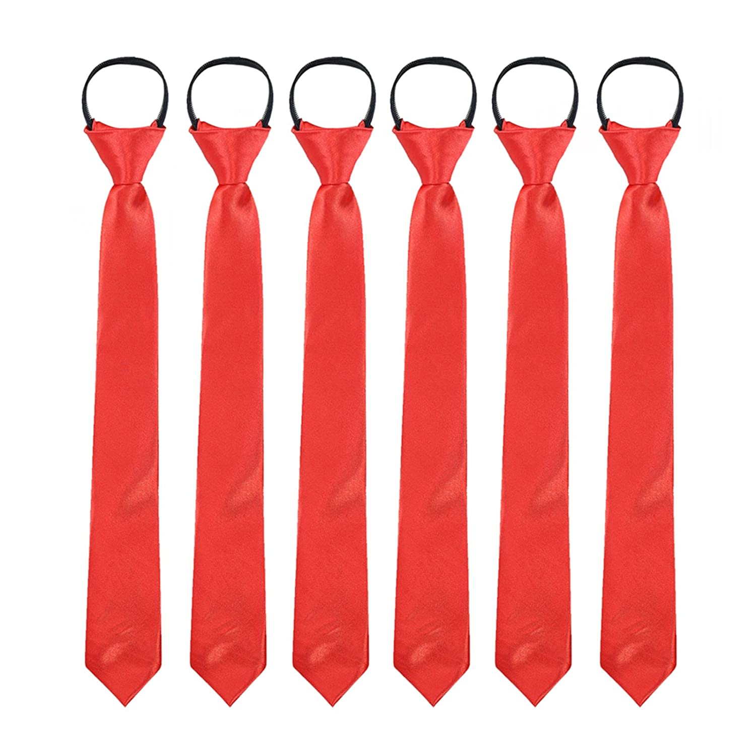 Toddlers Boys Zipper Ties Necktie - 6PCS Solid Color Adjustable Tie for Party (Pink) Jerrybaby