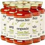 Organico Bello | Organic Gourmet Pasta Sauce | Tomato Basil | Non-GMO | Whole30 Approved | 24oz (Pack of 6)