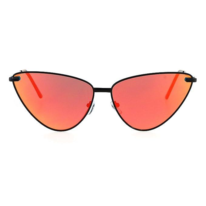2875e63deba1 Womens Mirror Lens Retro Funk Gothic Unique Cat Eye Metal Rim Sunglasses  Black Red