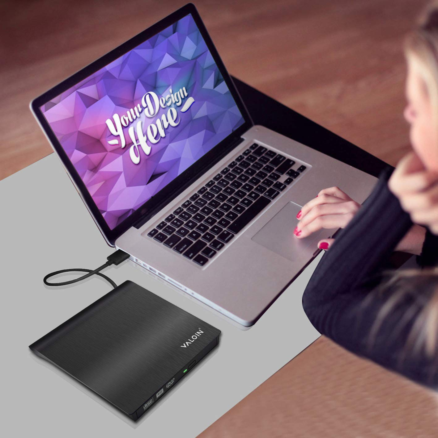 [2019 New Version]External DVD Drive,USB 3.0 Portable Ultra-Slim CD-RW ROM Drive Player Burner Writer Rewriter,Plug and Play by Valoin (Image #8)