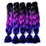 MSBELLE 5PCS Synthetic Braiding Hair, Kanekalon Braiding Hair Extensions Ombre Jumbo Twist Braids Hair for Black Women 24 Inch(Black-Purple Red-Blue)