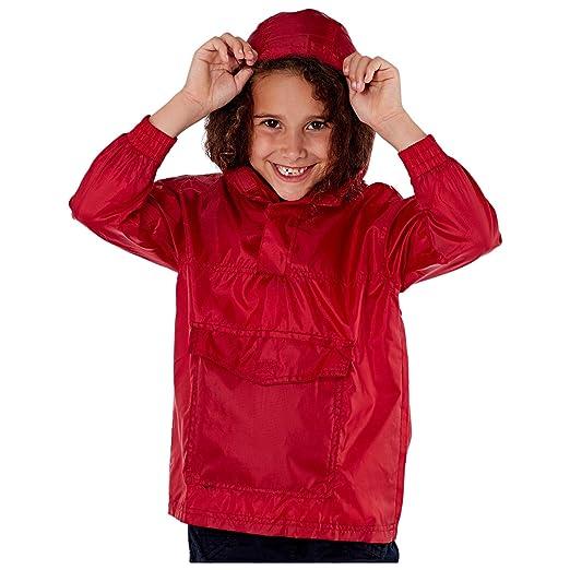 MyShoeStore Kids Unisex Light Rain Jacket Hooded Shower Resistant Boys Girls Children Pack Away Cagoule Summer Raincoat Kagool Kagoul Hooded Jacket Plain Pac a Mac Lightweight Outdoor Coat