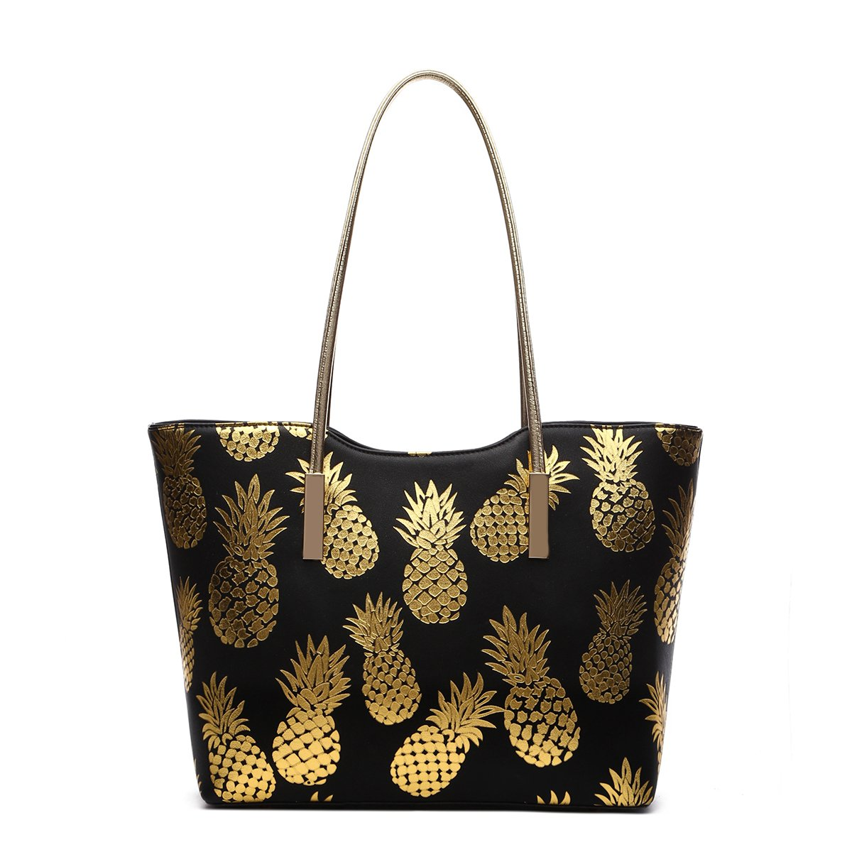Large Top Handle Golden Pineapples All Over Print Tote Bag