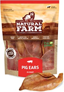 NATURAL FARM Whole Pig Ears for Dogs (25-Pack), Pure Pork Ears - Made & Packaged at Our Own Food-Grade Facility – Healthy, Full Digestible Treats for All Breeds, Best Rawhide Alternative