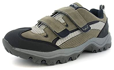 Mens Grey Twin Velcro X-Hiking Hiking Shoes - Grey/Black/Navy -
