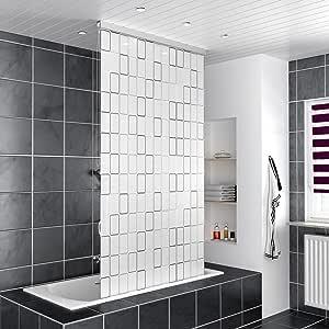 Estor de ducha, de Homelux; cortina de ducha con cajón para montarla directamente en el techo, se puede montar a la izquierda o a la derecha; se puede elegir el tamaño y