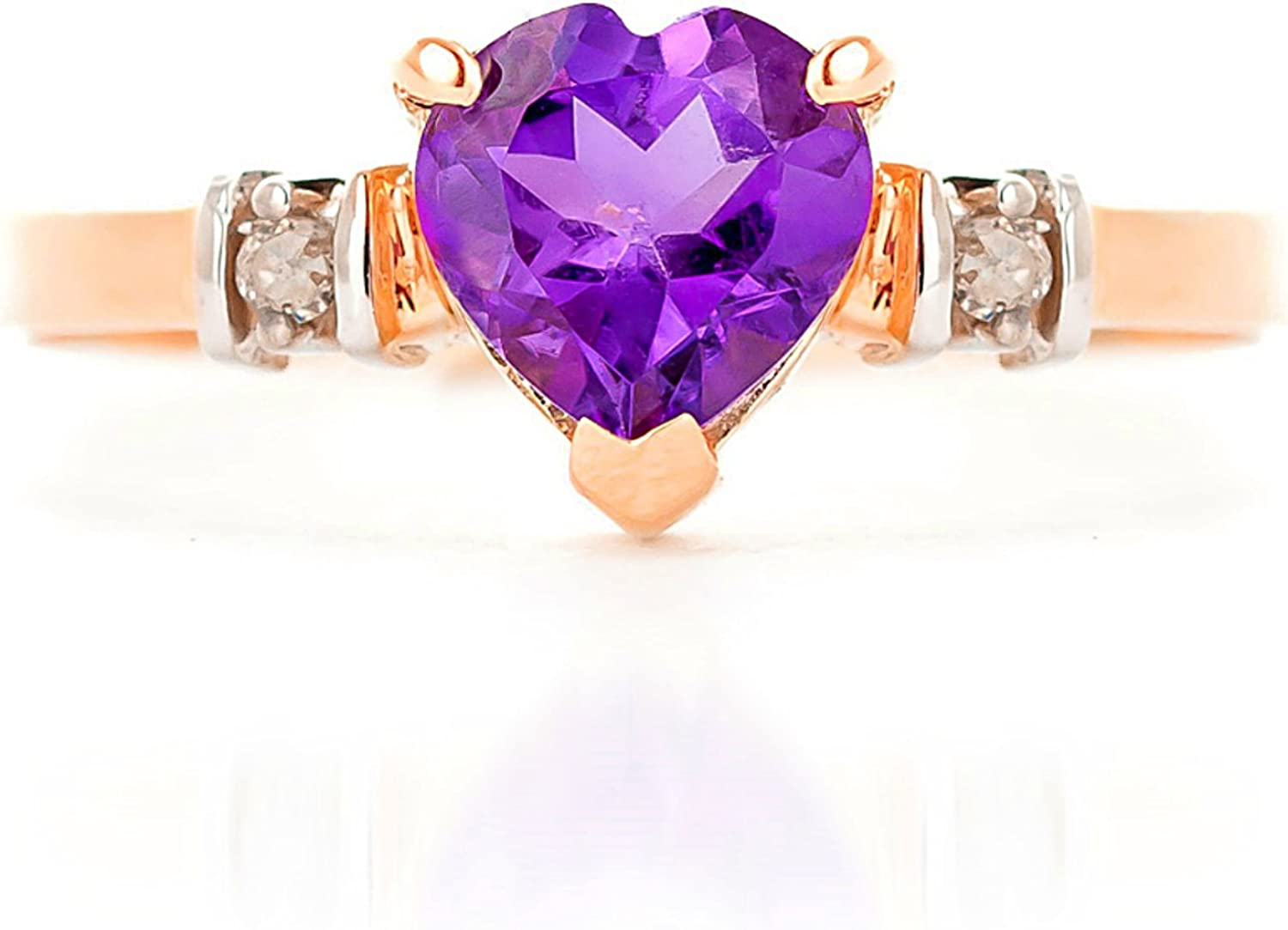 2.31 Ct Heart Shape Purple Amethyst 18K Rose Gold Plated Silver Ring