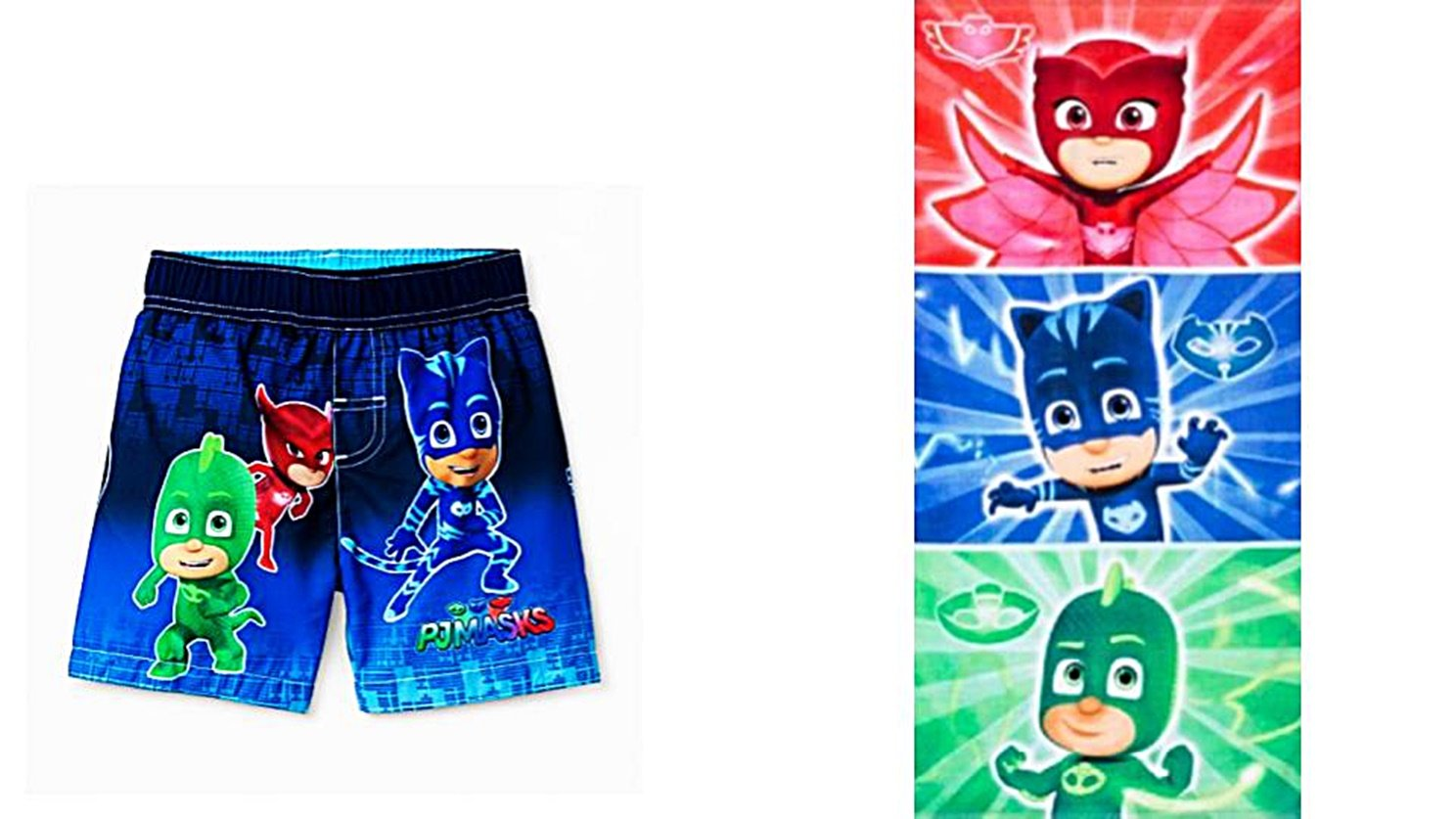 Custom Bundled Products Disney Junior PJMASKS Toddler Boys UFP50+ Swim Trunks Plus Character Beach Towel (4T)
