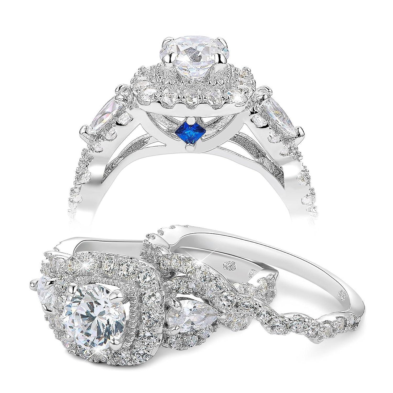 Amazon Newshe Bridal Set 2ct Round Cut White Cz 925 Sterling
