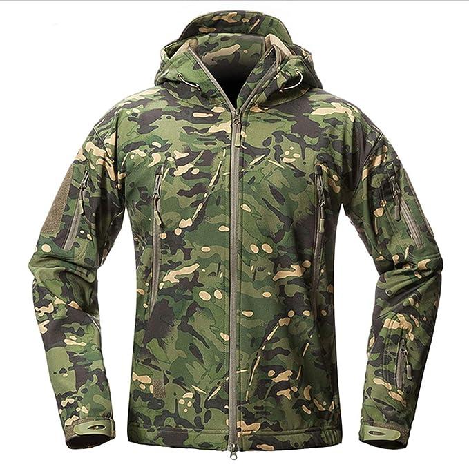 Amazon.com: Chaqueta de forro polar con capucha militar ...