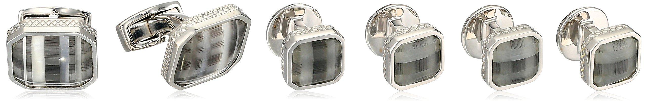 Tateossian Rhodium Fiber Optic Glass Black Square Tartan Shirt Stud