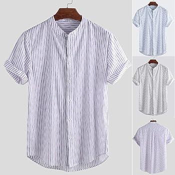 Camisas de Lino para Hombre, diseño clásico de Rayas, Manga Corta, Playera de Henley, Playera de Verano con Botones, Camisetas de algodón livianas, Blusas con Cuello Alto: Amazon.es: Ropa y accesorios