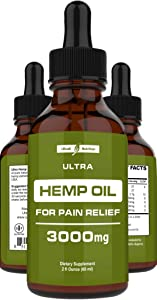 Hemp Oil for Pain Relief (3000mg - 120 Servings) Hemp Extract w/Anxiety Relief, Stress Relief, Arthritis Pain Relief - Best Hemp Oil Extract for Pain, Anxiety Oil + Organic Hemp Drops - Made in USA