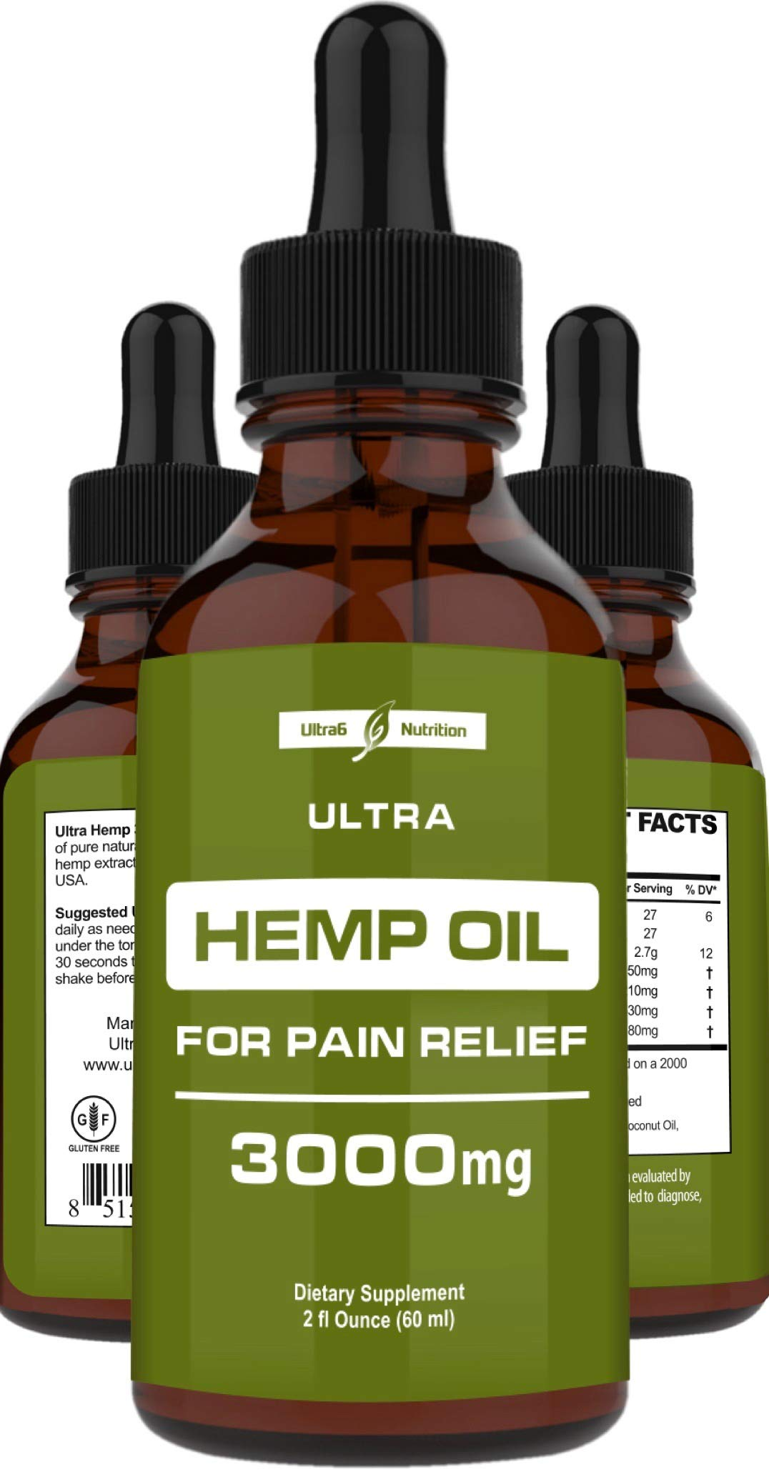Hemp Oil for Pain Relief (3000mg - 120 Servings) Hemp Extract w/Anxiety Relief, Stress Relief, Arthritis Pain Relief - Best Hemp Oil Extract for Pain, Anxiety Oil + Organic Hemp Drops - Made in USA by Ultra6 Nutrition