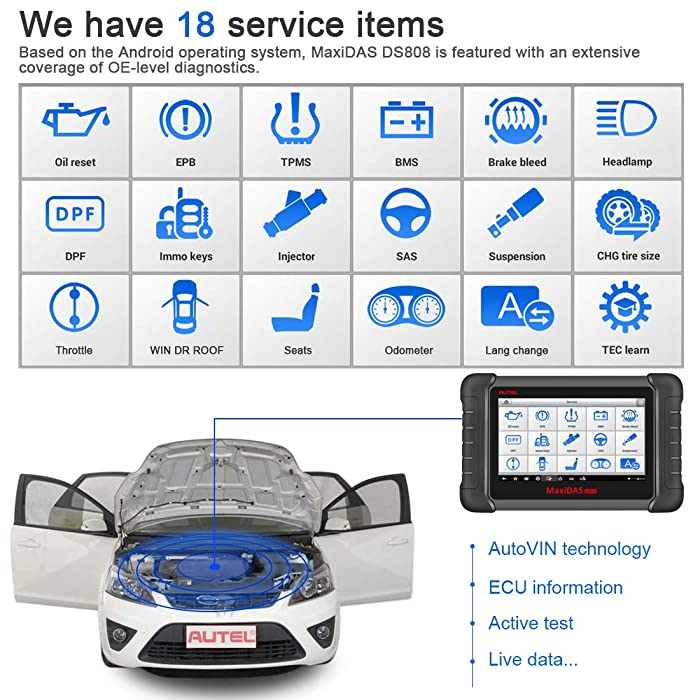 Autel MaxiDAS DS808K is a Professional Automotive Diagnostic Scan Tool that offers 18 service functions