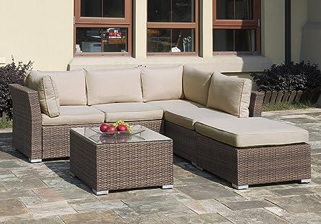 Al aire libre Patio Jardín Muebles de mimbre sofá Chaise ...