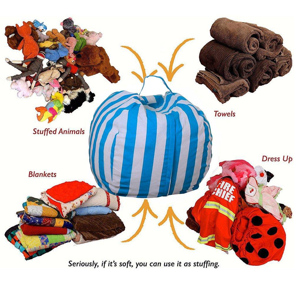 kingfansion Toy Storage Bag, Children's Large-Capacity Plush Animal Plush Toy Storage Bag Soft Bag Striped Cloth Chair by kingfansion (Image #5)