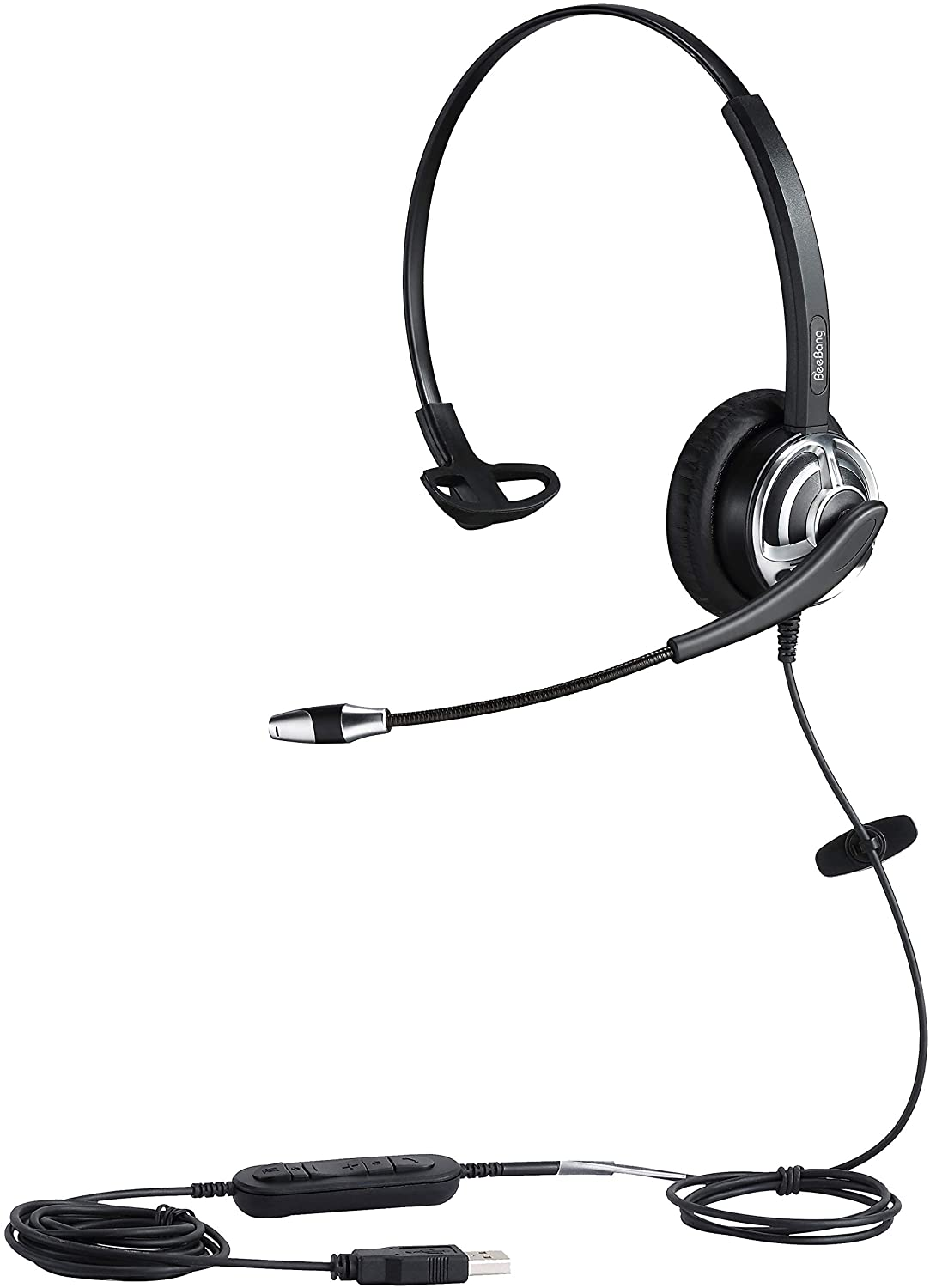 USB Headset with Noise Cancelling Microphone PC Headphone with Mic Mute Volume Control Call Button for Call Center Skype Chat Drangon Voice Recognition Speech Dictation
