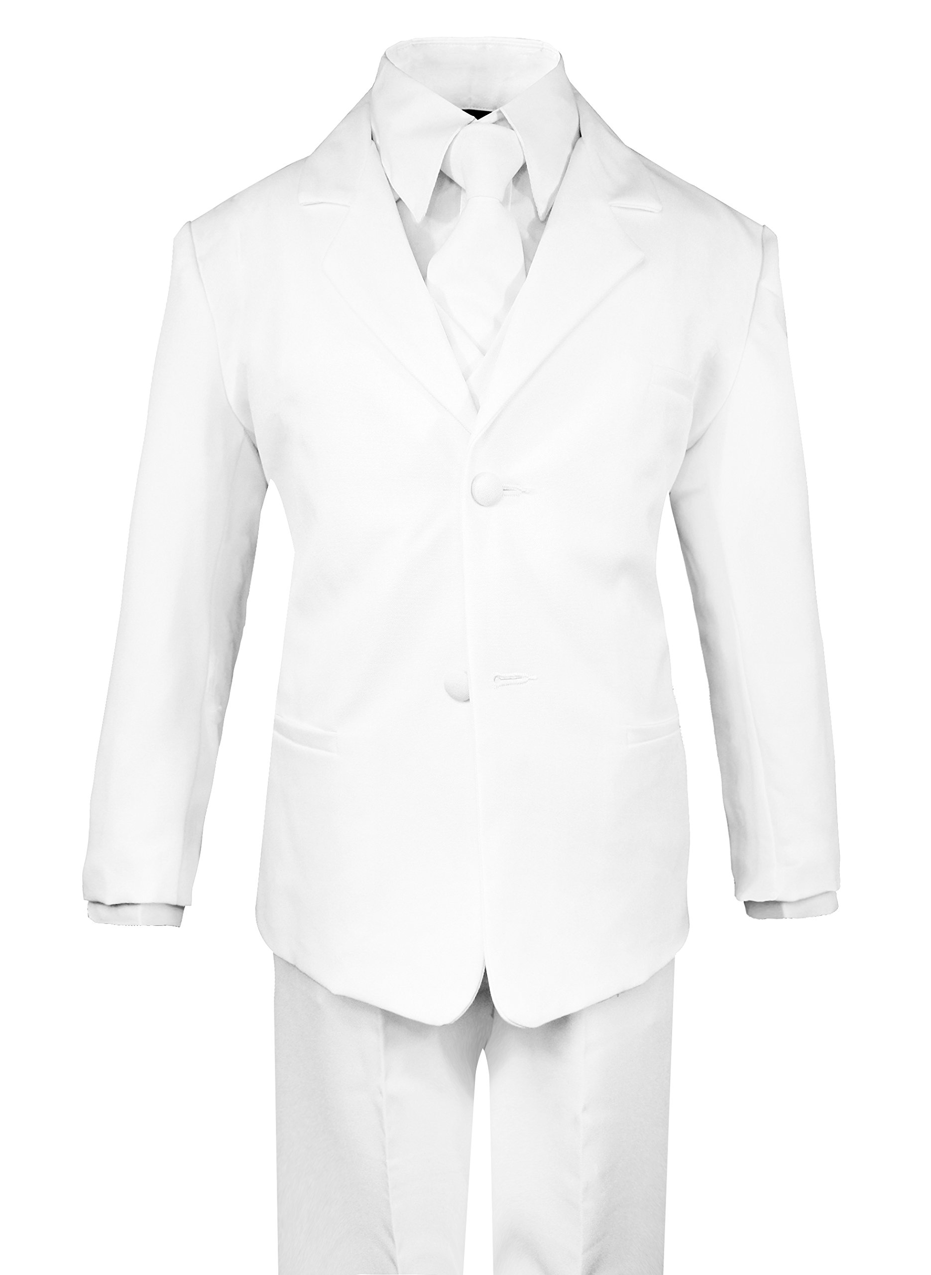 67bb2105e0e Galleon - Luca Gabriel Toddler Boys  5 Piece Classic Fit No Tail Formal  White Dress Suit Set With Tie And Vest - Size 7