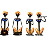 The Bombay Craft House Rajasthani Musician Wall Hanging (Multiclour) Set of 4 Traditional Wall Decor Sculptures | Wrought Iron Wall Hanging | Wall Mounted Hanging Art Decor