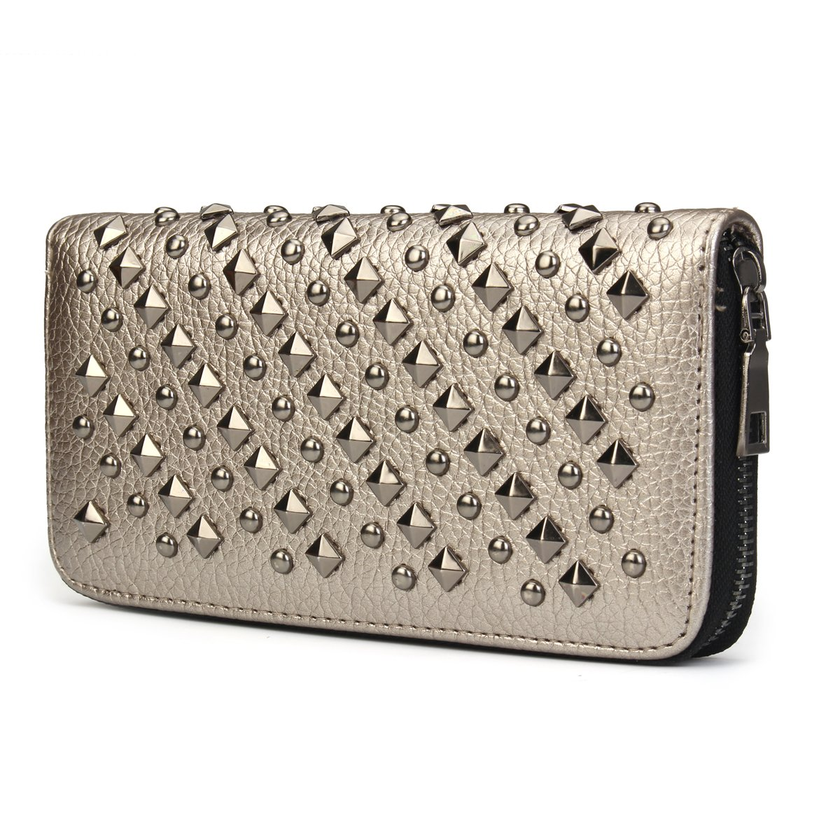 OURBAG Cool Fashion Women Punk Style Spike Handbag Rivet Studded Long Wallet Phone Bag Gray Medium