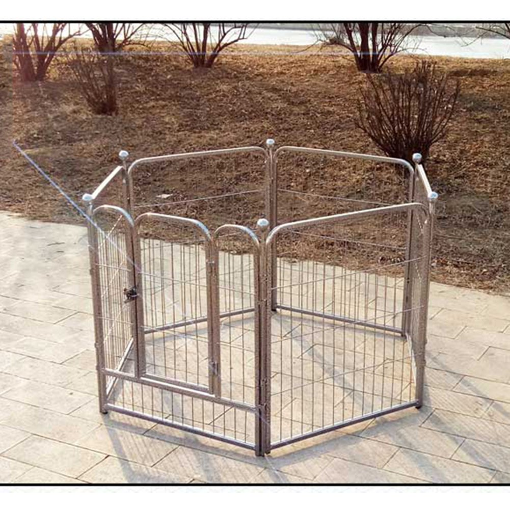 L 100120sixpieces L 100120sixpieces XCLLL Pet Fence Pet Nest Kennel Isolation Door Large Medium Small Dogs, Universal Reinforcement Durable Removable Silver,L,100120Sixpieces