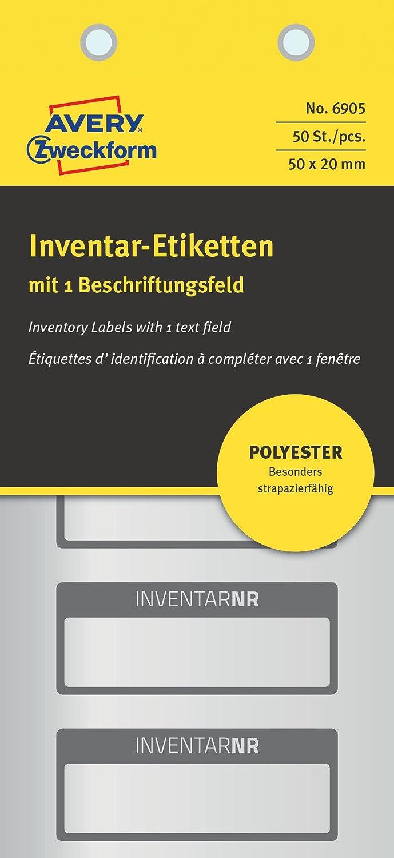 10 Bogen AVERY ZWECKFORM 6906 Inventar-Etiketten  50x20 mm  50 Etiketten