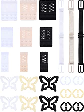 24 Pieces Bra Accessory Adjustable Bra Straps Non-Slip Bra Clips Bra Extenders for Women and Girls