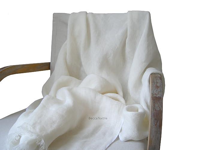 couverture en lin 100% pure, couleur blanche,