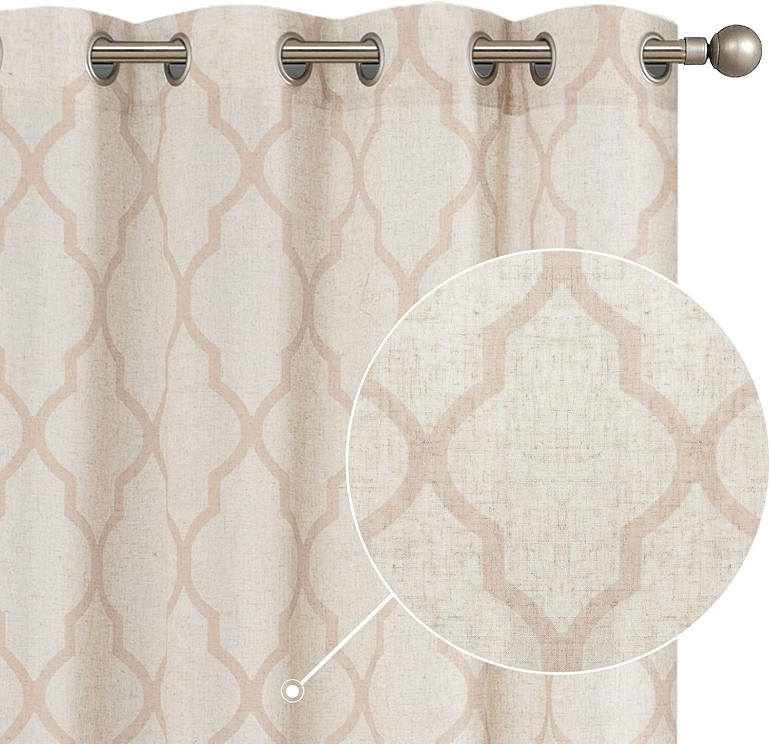 Trades Routes hand block printed moroccan home decor cafe curtain in coral and taupe on natural mixed linen