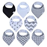 Baby Bandana Bibs, Drool Bib, Drooling Teething, Organic Cotton, Boys Girls Grey
